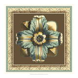 Printed Chocolate and Blue Rosette II