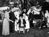Pres Franklin Roosevelt and First Lady with Veterans from Walter Reed Hospital