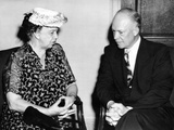 Eleanor Roosevelt Chats with Columbia University President, Dwight D Eisenhower
