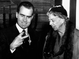 Vice Pres Richard Nixon and Eleanor Roosevelt at Dedication Ceremonies New B'nai B'rith Building