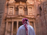 Arab Man Watching Facade of Treasury (Al Khazneh), Petra, Jordan
