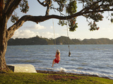 Young Girl on Rope Swing under Pohutukawa Tree, Oamaru Bay, Coromandel, North Island, New Zealand