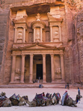 Camels at the Facade of Treasury (Al Khazneh), Petra, Jordan
