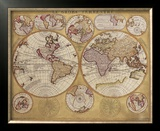 Antique Map, Globe Terrestre, 1690 Framed Art Print