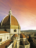 High Angle View of a Cathedral, Duomo Santa Maria Del Fiore, at Sunset Florence, Tuscany, Italy