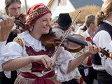 Woman Playing Violin and Wearing Folk Dress, Borsice, Brnensko, Czech Republic