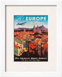 Pan American: Fly to Europe by Clipper, c.1940s Framed Art Print