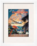 Pan American: Fly to the Caribbean by Clipper, c.1940s Framed Art Print