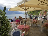 Lakeside View of Cafe in Medieval Village of Varenna, Lake Como, Lombardy, Italian Lakes, Italy