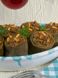 Artichokes Stuffed with Ground Meat, Spices, Herbs and Pine Nuts, Arabic Cuisine, Lebanon