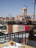 Rooftop Terrace and Minarets, Place Jemaa el Fna, Marrakesh, Morocco, North Africa, Africa