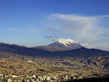 View over La Paz with Mount Illimani in the Background, Bolivia, South America