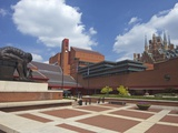 British Library Courtyard with Isaac Newton Statue, Euston Road, London, England