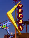 Neon Vegas Sign at Dusk, Downtown, Freemont East Area, Las Vegas, Nevada, USA, North America