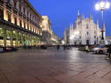 Piazza Duomo at Dusk, Milan, Lombardy, Italy, Europe