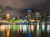 Central Business District City Skyline at Night Taken from Southbank of Brisbane, Australia