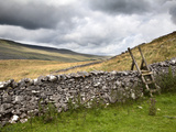 Dry Stone Wall and Ladder Stile at Twisleton Scar, Yorkshire Dales, Yorkshire, England