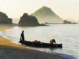 Fisherman Returning to Kuta Beach with His Daily Catch, Kuta Lombok, Indonesia, Southeast Asia