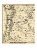 1880, Oregon and Washington State Map, Oregon, United States