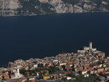 Aerial View of a Town and Castello Scaligero Viewed from Monte Baldo, Malcesine, Lake Garda, Ver...