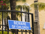 Beware of Children Sign on a Gate, Notre Dame Des Anges Church, Mahebourg, Mauritius