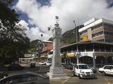 Traffic around a Clock Tower, Victoria, Mahe Island, Seychelles