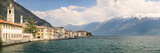 Buildings at the Waterfront with Snowcapped Mountain in the Background, Gargnano, Monte Baldo, L...