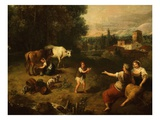Pastorale, Landscape with Milkmaid and Cows, C. 1750-60, Detail