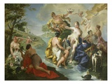 Goddess Diana and Nymphs and Actaeon Torn to Pieces by His Hounds or Dogs