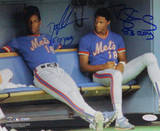 Dwight Gooden  Sitting In Mets Dugout With Darryl Strawberry