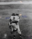 Don Larsen/Yogi Berra Dual Signed Hug Close Up Vertical B&W w/ PG Insc. by Larsen