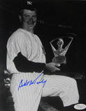 Bob Turley Signed Holding Cy Young Award B/W Autographed Photo (Hand Signed Collectable)