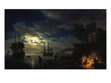Night Sea Port in Moon Light 1771