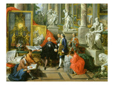 Collector Surrounded by Sculptures: Michelangelo's Moses, Bernini's David, Drawing Students