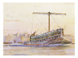 Assyrian Galley, Watercolour Reconstruction, Late 19th - Early 20th Century