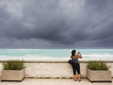 Tourists Come to the Beach to See Hurricane Igor's First Outer Bands