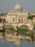 Buy Saint Peter's Basilica and Ponte Sant'Angelo Reflected in the Tiber at AllPosters.com