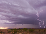 Intense Purple Lightning Bolts Strike in the Desert of New Mexico