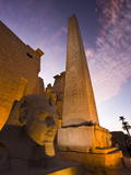 An Obelisk and Sphinx Head at the Entrance to Luxor Temple