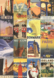 Vacation in Europe - Vintage Style Poster Collage