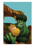 Marvel Adventures Super Heroes No.11 Cover: Thing and Hulk Fighting