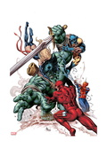 New Avengers No.23 Cover: Skaar, Daredevil, Spider-Man, Ms. Marvel, and Wolverine Fighting