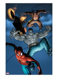 Fear Itself: Fearsome Four No.2: Spider-Man, Hulk, Wolverine, and Ghost Rider Jumping