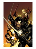 Ultimate Avengers 3 No.1 Cover: Blade, Black Widow, Daredevil, and Hawkeye Posing with Weaponry
