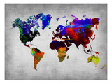World Watercolor Map 12 Art Print