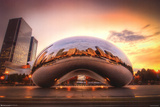Chicago Cloud Gate Sunset Poster