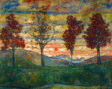 Four Trees, c.1917 Art Print