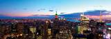 Aerial New York City Skyline Panorama at Dusk with Empire State Building