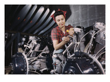 Woman Working on Aircraft Engines