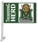 NCAA Marshall Thundering Herd Car Flag with Wall Bracket